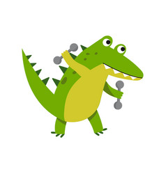 Cute cartoon crocodile character raising dumbbells vector