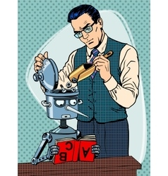 Education scientist teacher robot student vector image