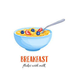 flakes with milk and berries vector image