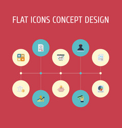 Flat icons net income moneybox pie bar and other vector
