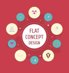 Flat icons sandal present patisserie vector