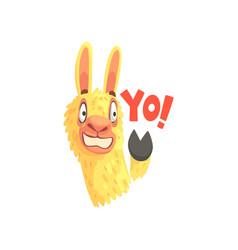 Funny llama character waving its hoof saying yo vector