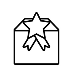 Gift box cube star ribbon present outline vector