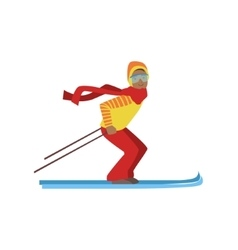 Guy On Mountain Skis Winter Sports vector image vector image