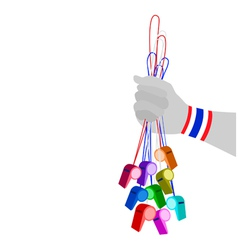 Human Hand Holding Group of Thai Whistles vector image vector image