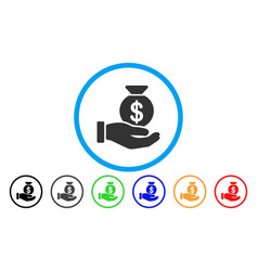 invest hand rounded icon vector image vector image