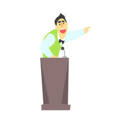 Man giving presentation at a podium in a green vector
