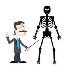 Man with human skeleton isolated on white vector