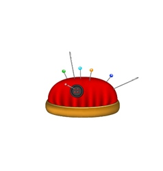 Pincushion in red design with needles and pins vector image