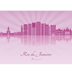 Rio de Janeiro V2 skyline in purple radiant orchid vector image
