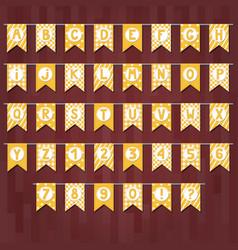 Set of cartoon flag garlands with alphabet vector