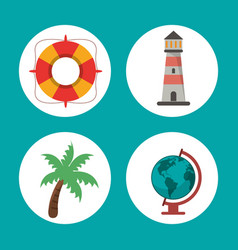 Set vacations travel concept symbol vector