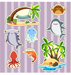 Sticker design island and fish vector
