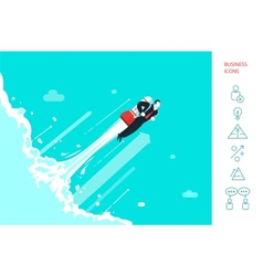 Success businessman is flying on the rocket vector image vector image