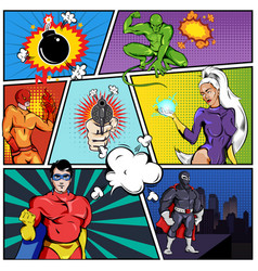 Superheroes comic page template vector