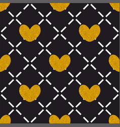 Tile quilted pattern with golden hearts on black vector