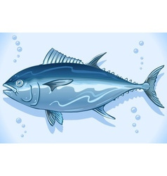 Tuna watercolor underwater world vector