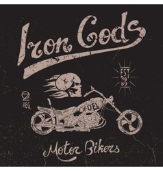 Vintage label with skull and motorcycle vector image vector image