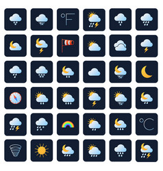 Weather forecast icons climate and meteo vector