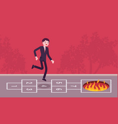 Young carefree businessman playing hopscotch fire vector