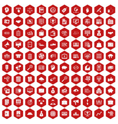 100 business process icons hexagon red vector