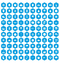 100 fruit icons set blue vector