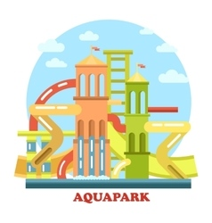 Aquapark outdoor exterior view panorama vector