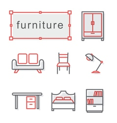 Thin line icons set furniture vector