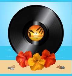 Vinyl record disc and hibiscus on summer vector