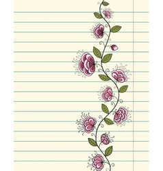 Lined paper sheet with doodle flowers vector