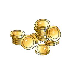 Pile heap of shiny gold coins money symbol vector
