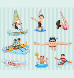 Sticker set with athletes doing sports vector