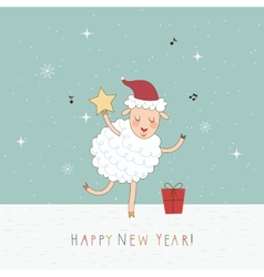 2015 New Year card with sheep vector image vector image