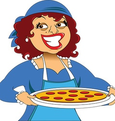 Cartoon woman with plate of food vector