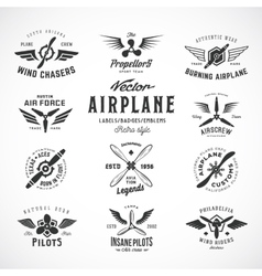 Vintage airplane labels set with retro vector