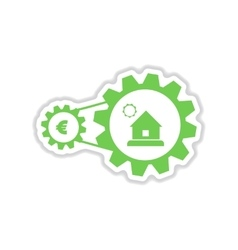 Paper sticker on white background house money vector