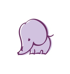 Pastel color cute violet elephant vector