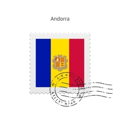 Andorra flag postage stamp vector