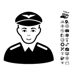Aviator icon with flying drone tools bonus vector