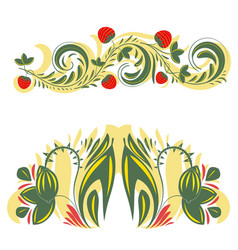 beautiful floral khokhloma patterns vector image
