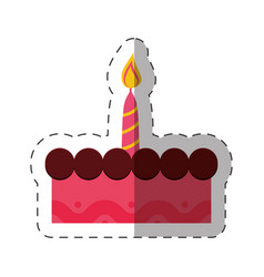 Birthday cake sweet candle celebration vector