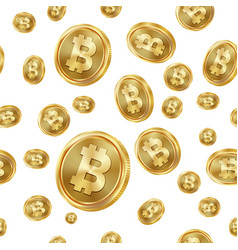 Bitcoin seamless pattern gold coins vector