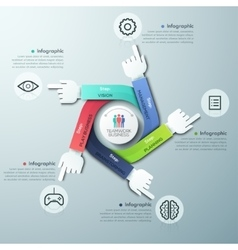 Business hands teamwork infographics template vector image vector image