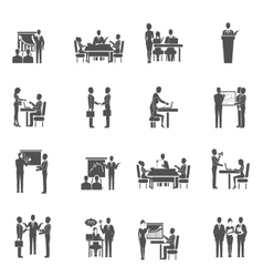 Business training icons set vector