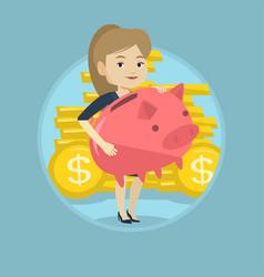 Business woman holding big piggy bank vector