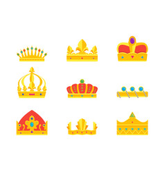 cartoon royal golden crown icons set vector image