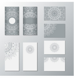 Collection card with white ornament set cards vector