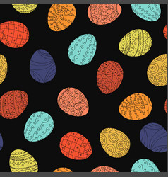 easter eggs - seamless pattern hand drawn vector image