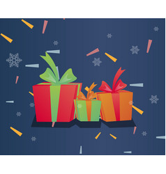 gift boxes with ribbon background vector image vector image