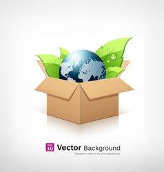 Globe and green leaf in recycle brown box vector image vector image